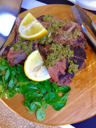 BBQ beef entrecôte with green sauce